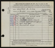 Entry card for Sinz, Walter A. for the 1948 May Show.
