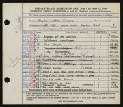 Entry card for Sloane, Phyllis for the 1948 May Show.