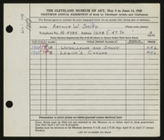 Entry card for Smith, Arthur W. for the 1948 May Show.