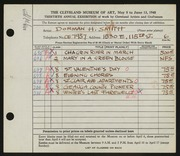 Entry card for Smith, Dorman H. (Dorman Henry) for the 1948 May Show.