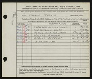 Entry card for Spence, Carrie for the 1948 May Show.