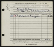 Entry card for Suchy, Arthur B. for the 1948 May Show.