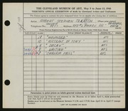 Entry card for Takatch, Robert for the 1948 May Show.