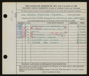 Entry card for Janicki, Hazel for the 1948 May Show.