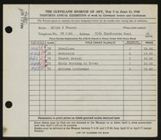 Entry card for Thayer, Allyn K. for the 1948 May Show.