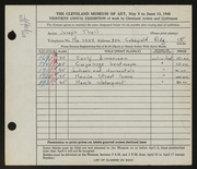 Entry card for Tholl, Joseph for the 1948 May Show.