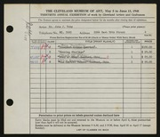 Entry card for Toby, John J. for the 1948 May Show.