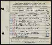 Entry card for Travis, Paul Bough for the 1948 May Show.