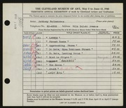 Entry card for Vaiksnoras, Anthony for the 1948 May Show.