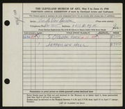 Entry card for Van Duzer, William A. for the 1948 May Show.