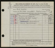 Entry card for Voglein, Nick for the 1948 May Show.