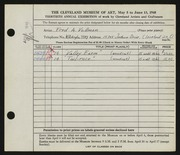 Entry card for Vollman, Fred Anthony for the 1948 May Show.