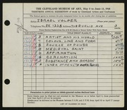 Entry card for Volper, Israel for the 1948 May Show.