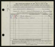 Entry card for Waselkov, Alexander Petrovitch for the 1948 May Show.