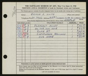 Entry card for White, George A. for the 1948 May Show.