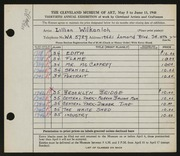 Entry card for Wilkenloh, Lillian for the 1948 May Show.