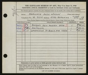 Entry card for Wilson, Marjorie Alice for the 1948 May Show.