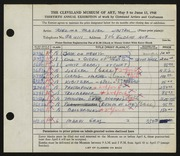 Entry card for Winter, Thelma Frazier for the 1948 May Show.