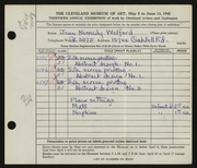 Entry card for Kennedy, Jean for the 1948 May Show.