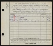 Entry card for Wood, Marian for the 1948 May Show.