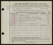 Entry card for Wooddell, Joseph M. for the 1948 May Show.