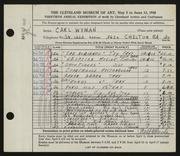 Entry card for Wyman, Carl for the 1948 May Show.