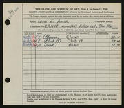 Entry card for Amer, Louis J. for the 1949 May Show.