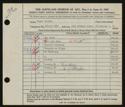 Entry card for Anliker, Roger William for the 1949 May Show.