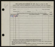 Entry card for Bair, Janet E. for the 1949 May Show.