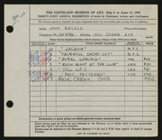 Entry card for Balazs, John for the 1949 May Show.