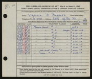 Entry card for Barnes, Virginia R. for the 1949 May Show.
