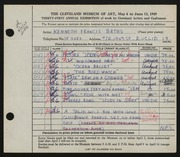 Entry card for Bates, Kenneth F. for the 1949 May Show.