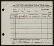 Entry card for Bauer, Sol A. for the 1949 May Show.