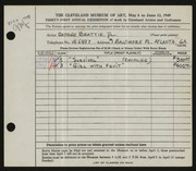 Entry card for Beattie, George for the 1949 May Show.