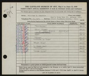 Entry card for Beattie, William H. for the 1949 May Show.