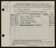 Entry card for Bidner, Robert for the 1949 May Show.