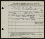 Entry card for Blum, Helaine Dorothy for the 1949 May Show.