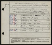 Entry card for Bohdal, Jeannette Antonia for the 1949 May Show.
