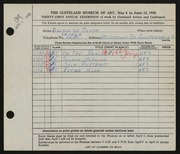 Entry card for Booth, Donald William for the 1949 May Show.