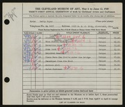 Entry card for Boyer, Betty for the 1949 May Show.