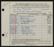 Entry card for Boynton, Henry Percy for the 1949 May Show.