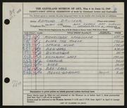 Entry card for Brucker, Edmund for the 1949 May Show.