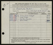 Entry card for Bucholz, Robert John for the 1949 May Show.