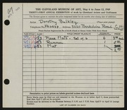 Entry card for Bulkley, Dorothy for the 1949 May Show.