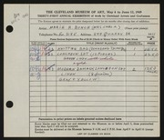 Entry card for Bunce, Marie R. for the 1949 May Show.
