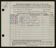 Entry card for Burton, Jack Munson for the 1949 May Show.