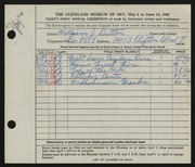 Entry card for Button, William J. for the 1949 May Show.