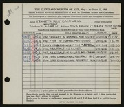 Entry card for Caldwell, Kenneth Roy for the 1949 May Show.
