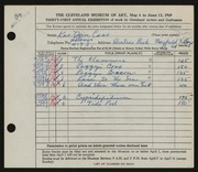 Entry card for Cass, Katherine Dorn for the 1949 May Show.