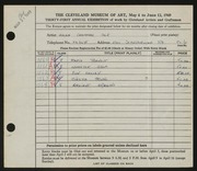 Entry card for Cole, Helen Champney for the 1949 May Show.